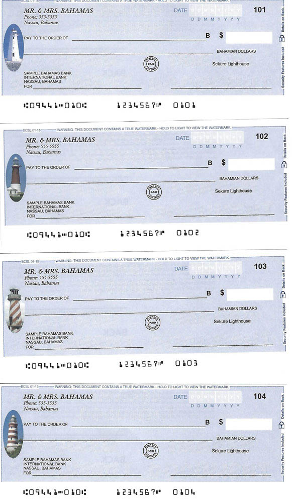 Personal Cheques Lighthouses