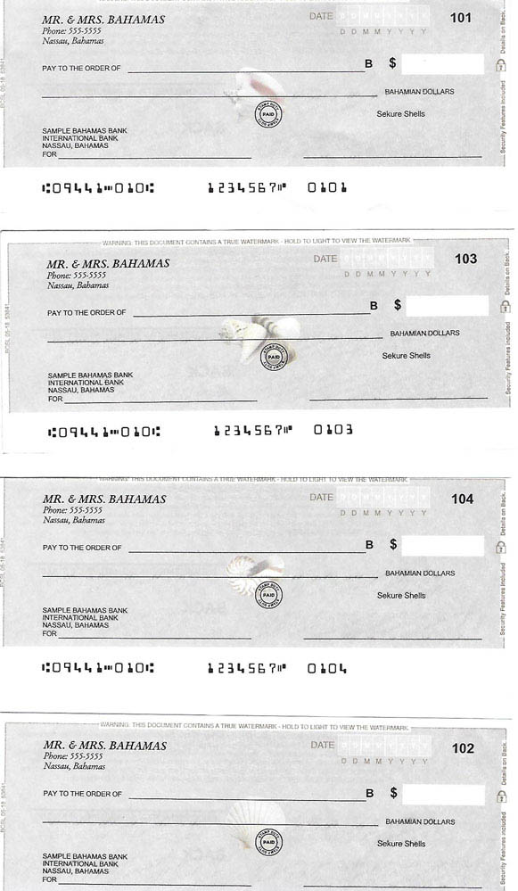 Personal Cheques Shells