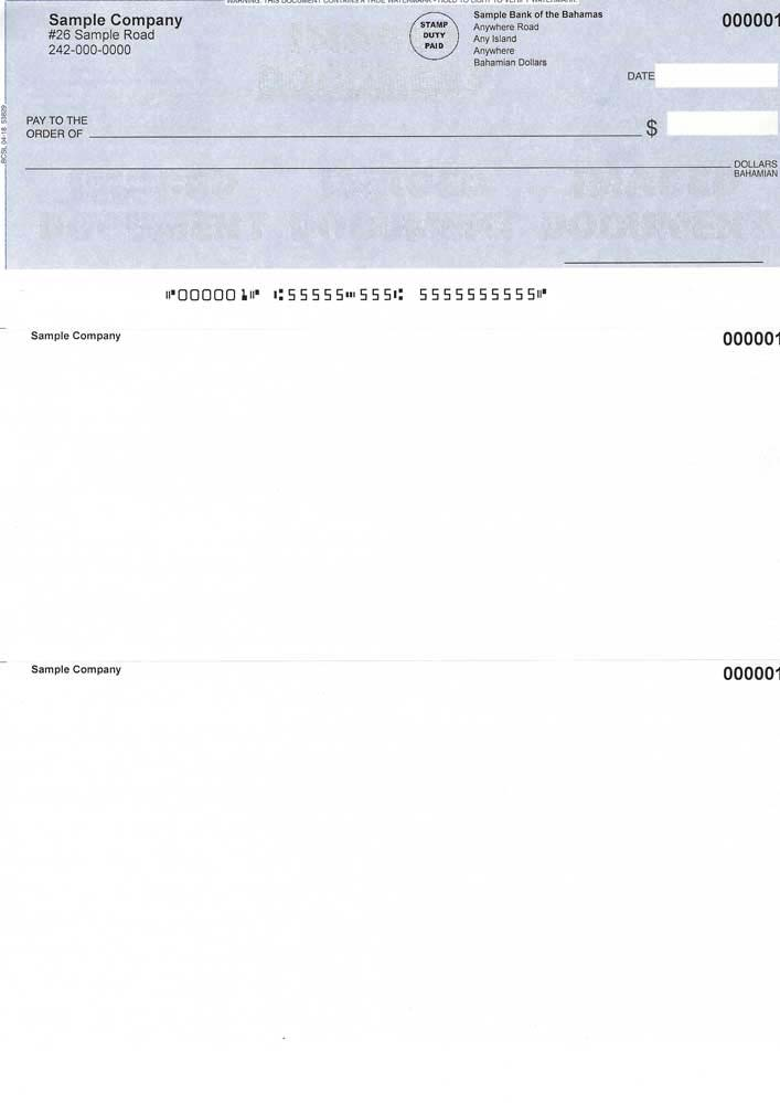 Cheque Position on Top - Blue