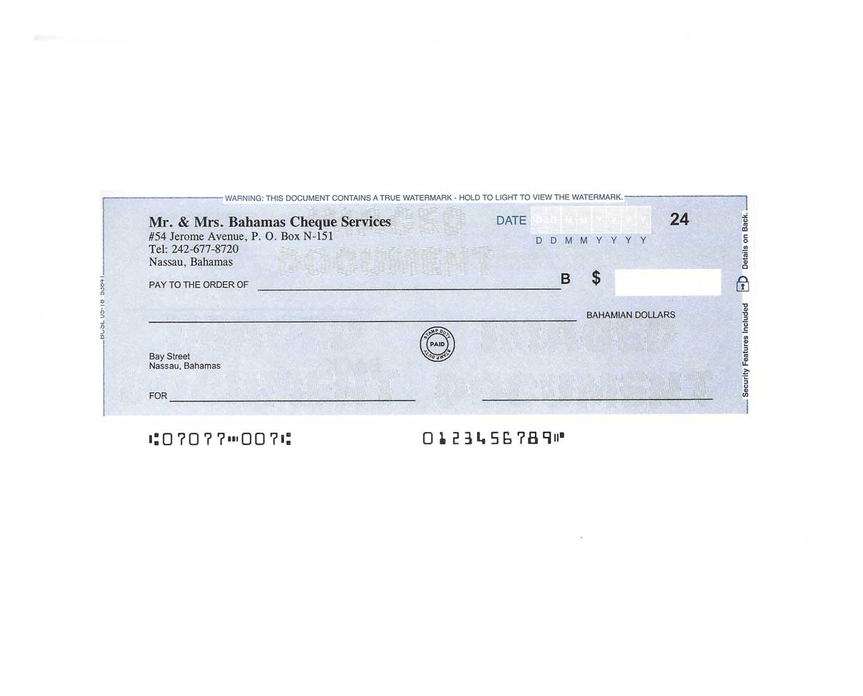 Personal Cheques Blue