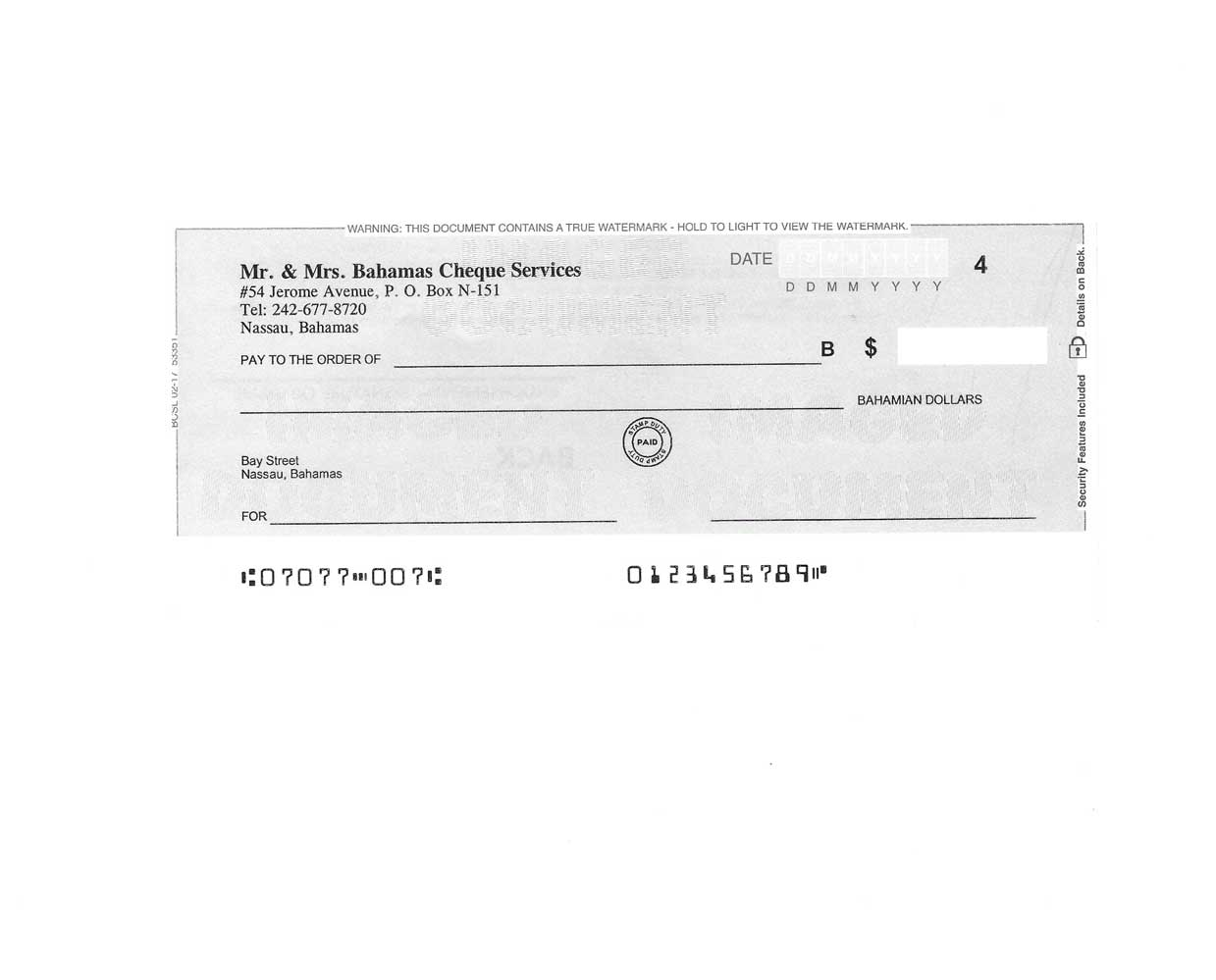 Personal Cheques Gray