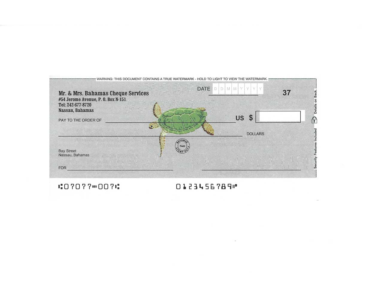 Personal Cheques Turtle